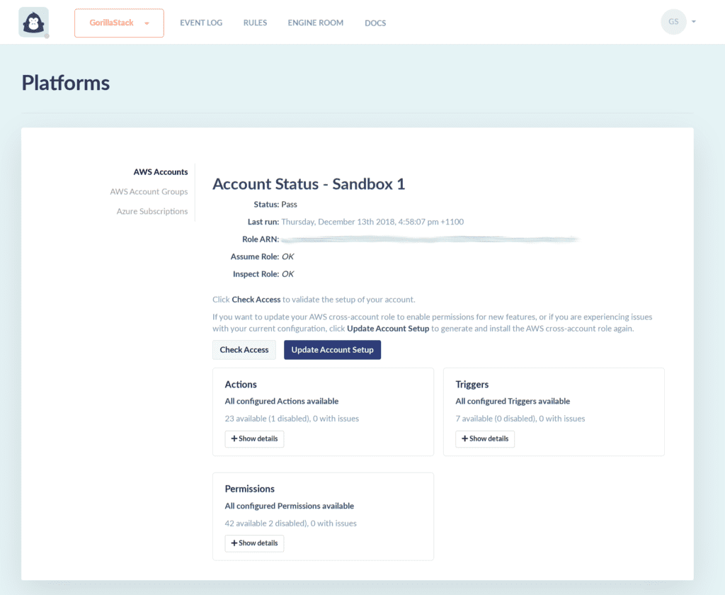 Customize your GorillaStack Cross-Account Role