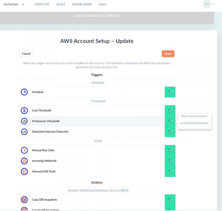 Customize your GorillaStack Cross-Account Role Update